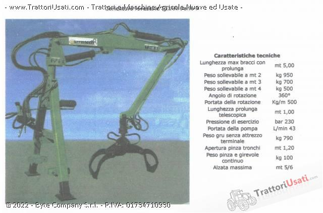 Rimorchio Monoasse Forestale Terrmacch Jolli 45 Con Gru T 2100 Serie B