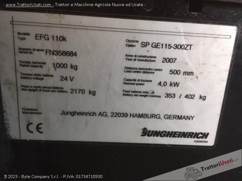 Carrello elevatore  - jungheinrich efg110k 3